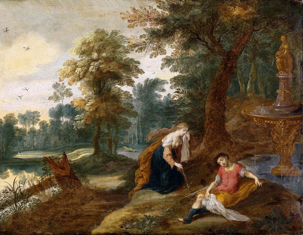 1585-1634 Yıllarında yaşayan ve konusunu mitolojiden alan resimleriyle ünlü Flaman (Belçikalı) Ressam Jasper van der Laanen'in tablosunda Thisbe ve Pyramus'un son anları.