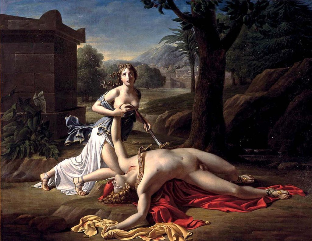 Thisbe ile Pyramus buluşma yerine geldiklerinde içine düştükleri tablo 1769-1825 yılları arasında yaşayan Fransız Ressam Pierre Gautherot tarafından böyle resmedilmiş
