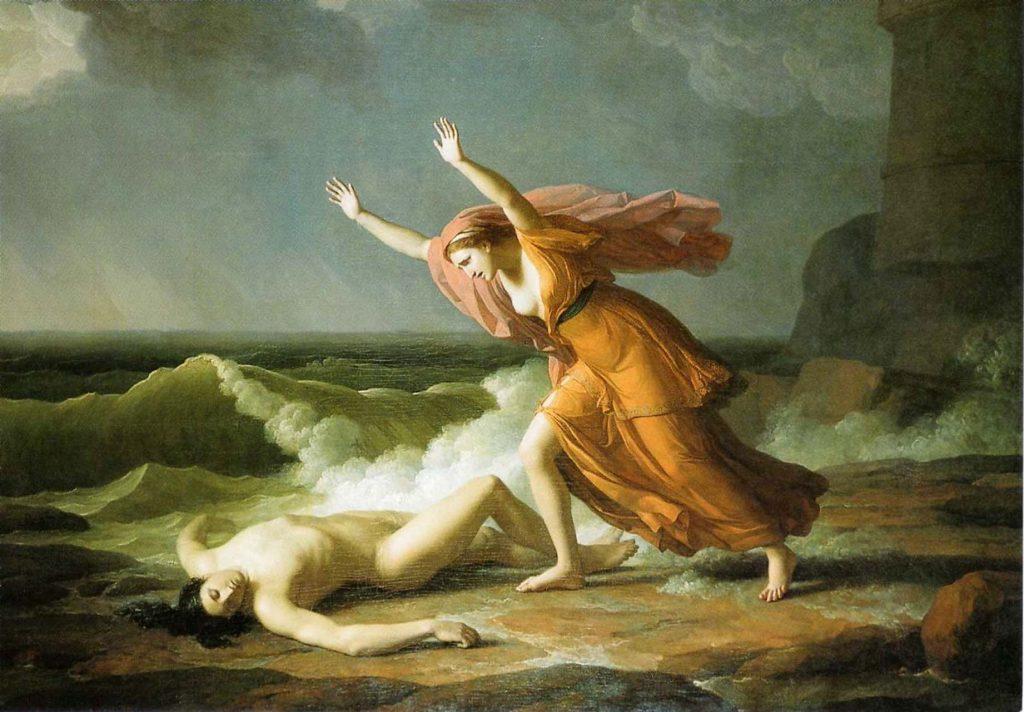 1745 ile 1809 yılları arasında yaşayan Fransız Ressam Jean Joseph Taillasson'un tablosunda Hero sevgilisi Leander'e gözyaşı döküyor.