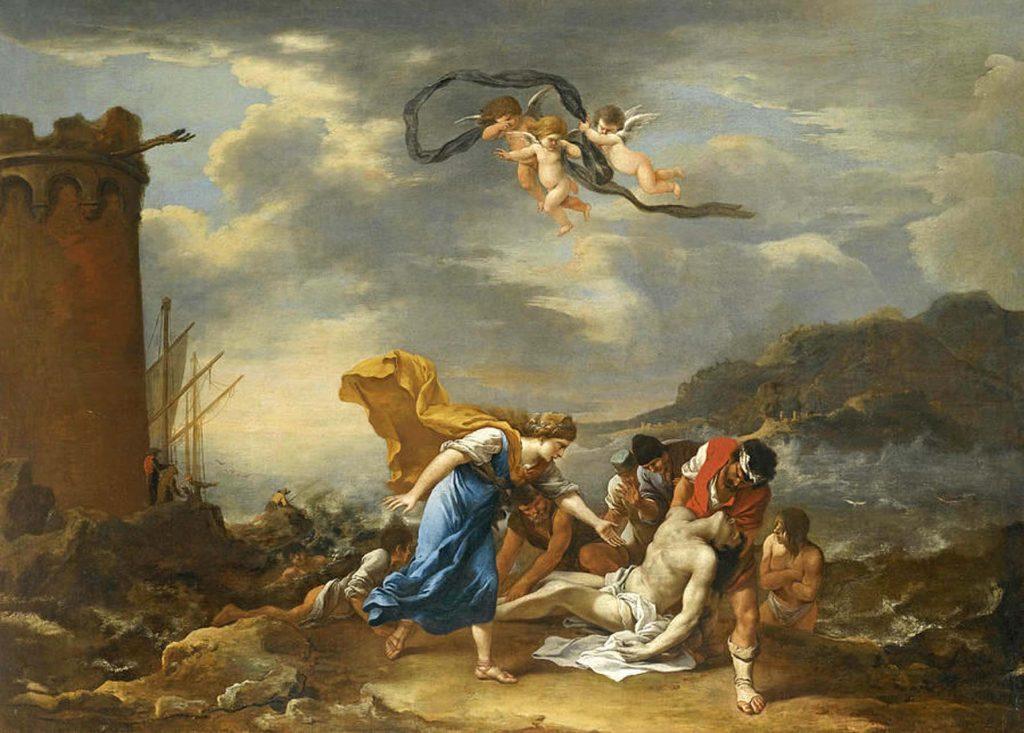 17'nci üzyılda yaşayan İtalyan Barok Ressam Salvator Rosa'nın fırçasından, Leander'in yasını tutan Hero ve arkadaşları.